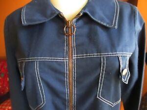 MEDIUM-True-Vtg-70s-sz-8-BLUE-RING-ZIPPER-MOD-SHIFT-Dress