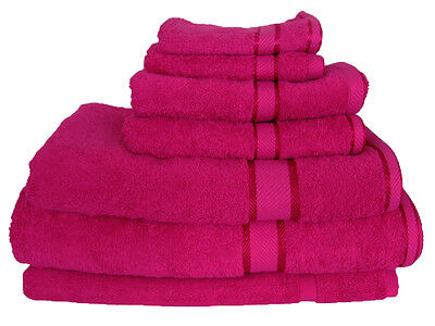 Fuchsia / Hot Pink Cotton Bath Towel Range 7 Pieces Set or Single Pieces Choice