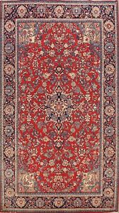 Vintage Traditional Floral Area Rug RED Wool Hand-knotted Oriental Carpet 7x11