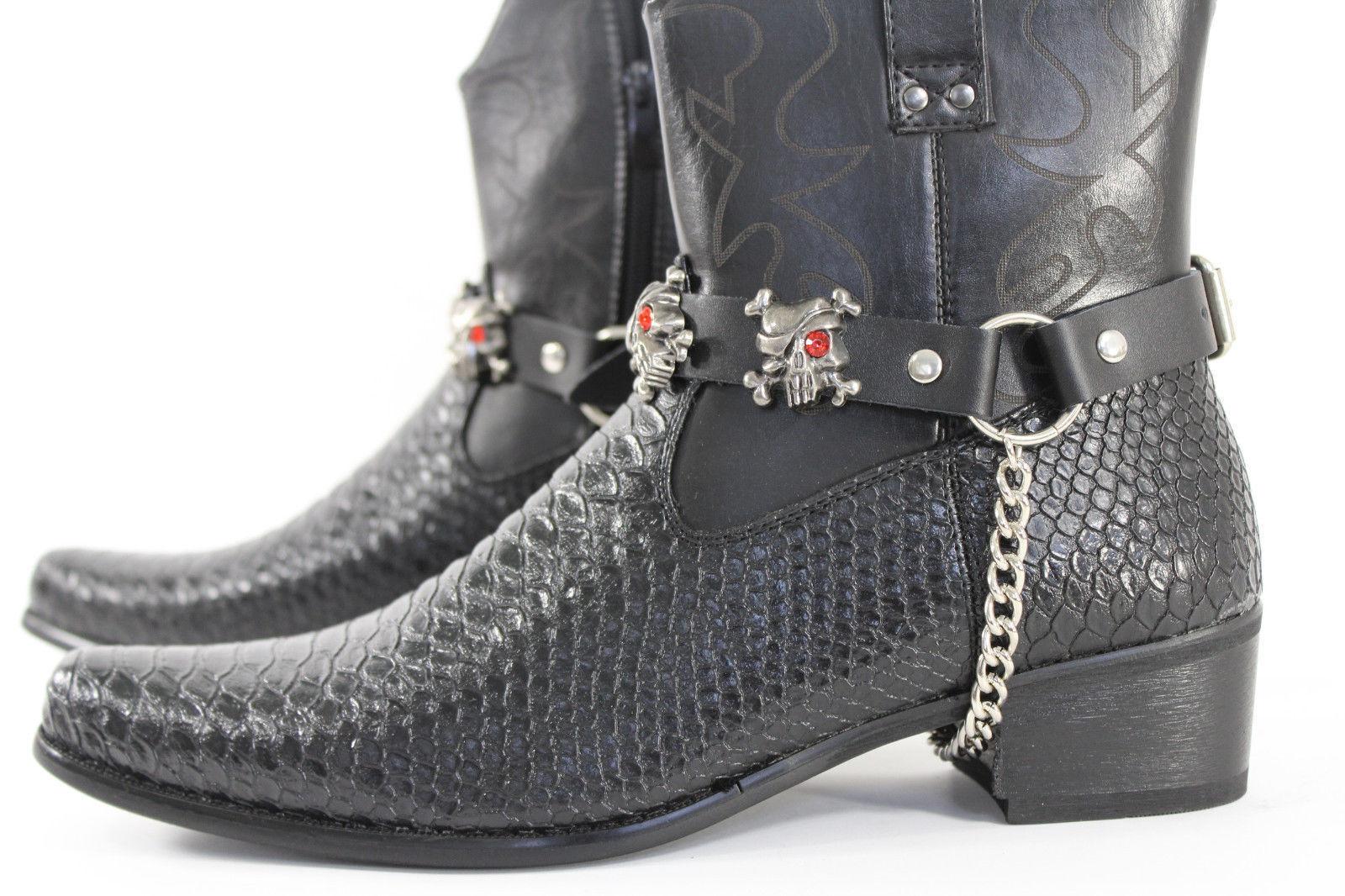 Biker Western Boots Bracelets Chain Black Leather 2 Straps Silver Skull Skeleton