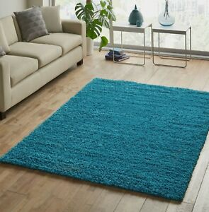 LARGE-amp-EXTRA-LARGE-THICK-TEAL-BLUE-SHAGGY-RUG-SIMILAR-TO-DARK-DUCK-EGG