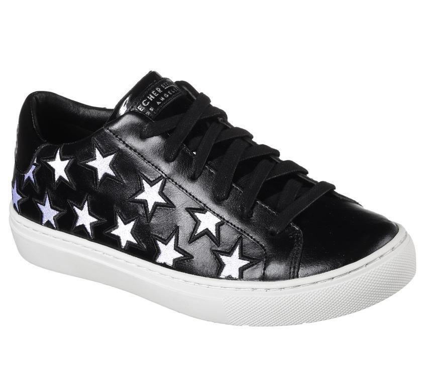 Skechers Rise Silver Cutout Stars  STAR SIDE  Black Leather Sneakers Wms NWT