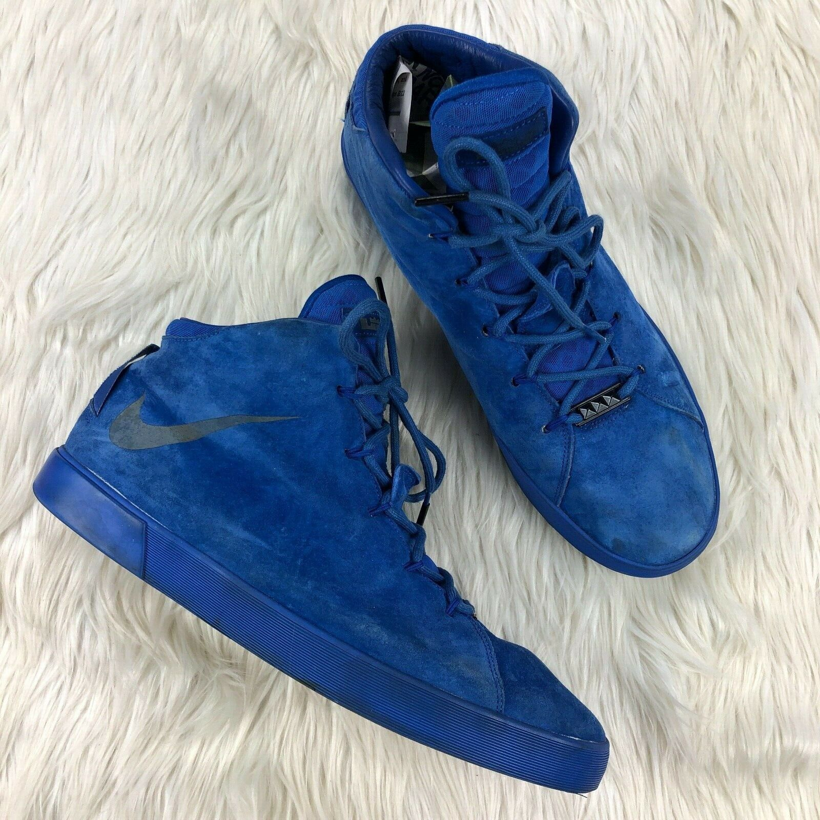 Nike Men's 13 bluee Suede Lebron XII NSW Lifestyle QS High Top Sneaker