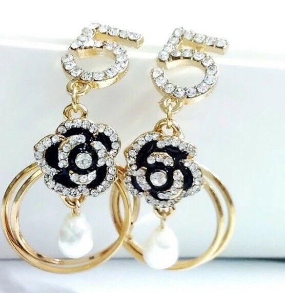 Trendy Designer Style Pave' crystal and camellia flower 2 Hoop Earrings