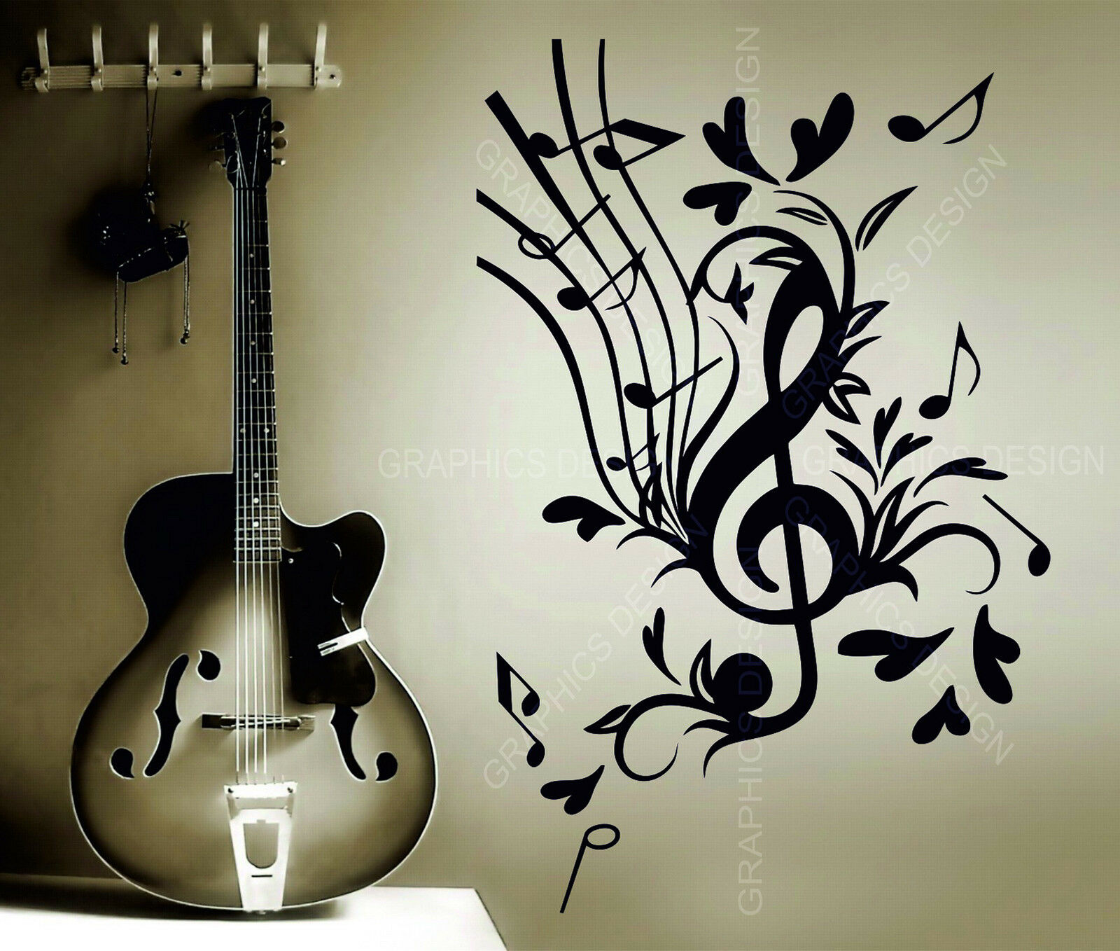 Treble Clef Sol Key Floral Music Notes Treble Decor Vinyl Wall Sticker Decal Art Ebay