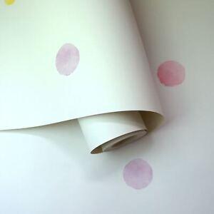 Peinture-A-L-039-Eau-a-Pois-Pastel-Nuances-Papier-Peint-Rose-Jaune-91000-Bedrooms