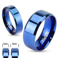 Blue Ip Flat Beveled Stainless Steel Ring/wedding Band/6mm-8mm/size 5-14 (r084)