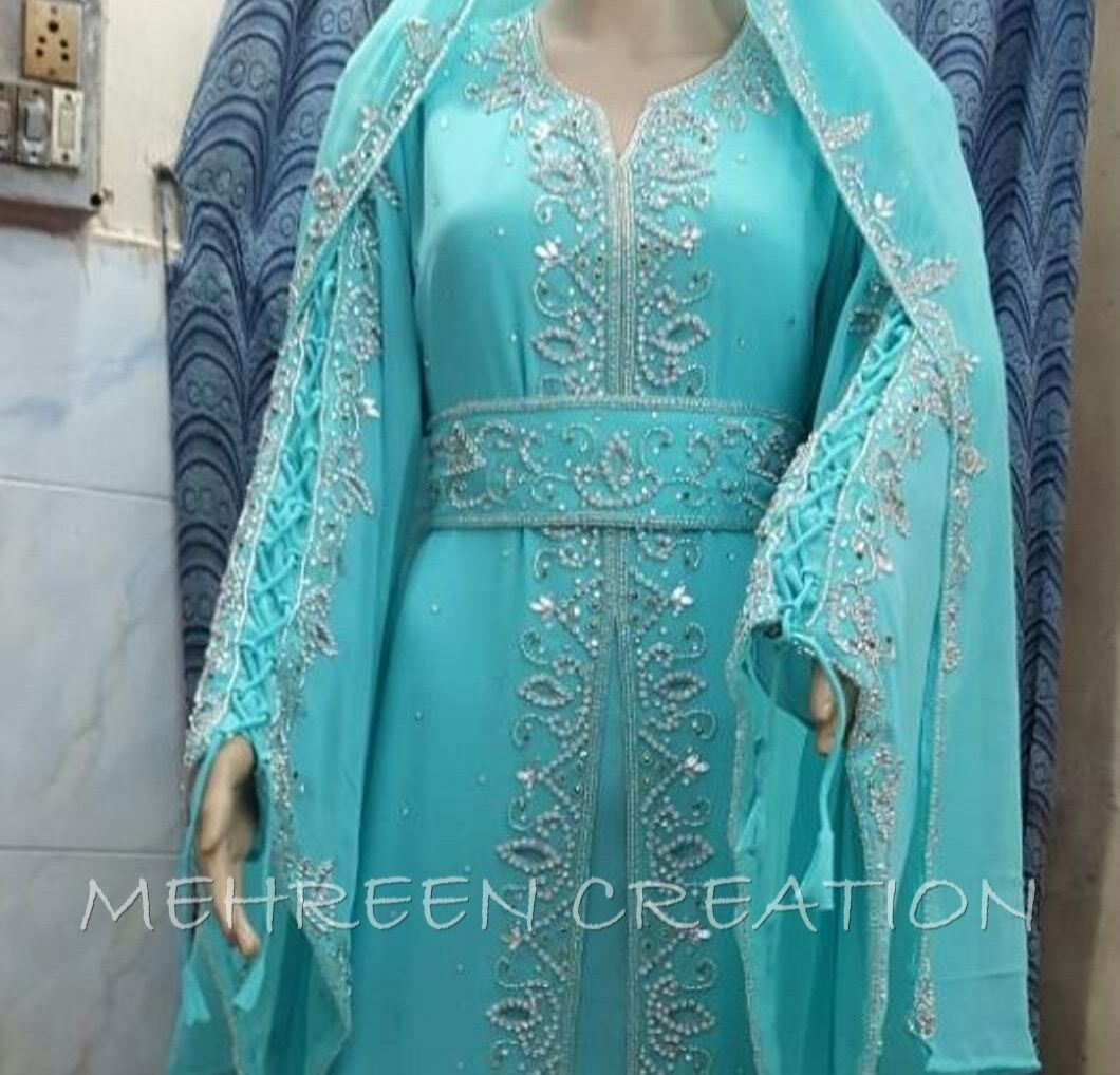 EXCLUSIVE EXCLUSIVE EXCLUSIVE BLING HAND EMBROIDERY ARABIC MAGHRIBI MgoldCCAN WOMEN HAND ZARI WORK 22 27240a