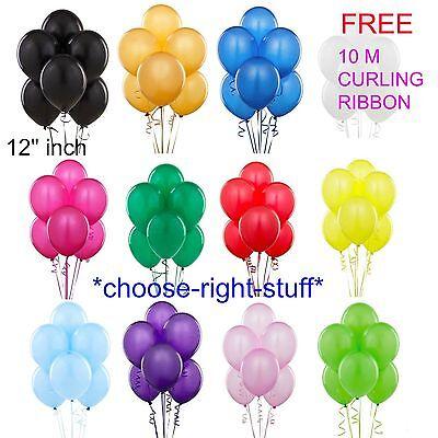 "100 X12"" WHOLESALE Latex HELIUM BALLOONS FREE RIBBON Birthday Wedding Baloons"