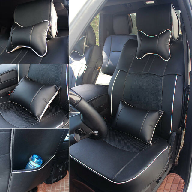 US 100% PU Leather Seat Cover For Dodge Ram 1500 2500 2009-2018 Black w/Armrest