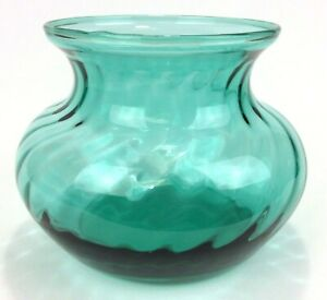 Vintage-Indiana-Glass-Teal-Bowl-Optic-Swirl-4-Inch-MCM-Gift-Idea