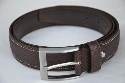 HUNTEX Brand New 100/% Genuine Full Grain Leather Mens Brown Stylist Belt /& Box