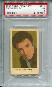 "1958 Dutch Gum Movie Cards ""X Nr"" Set 221 Elvis Presley PSA 3 VG Music vintage"