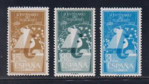 EDIFIL-1180-82-TELEGRAFO-ESPANA-ANO-1955-MNH-NUEVO-SIN-FIJASELLOS-SPAIN