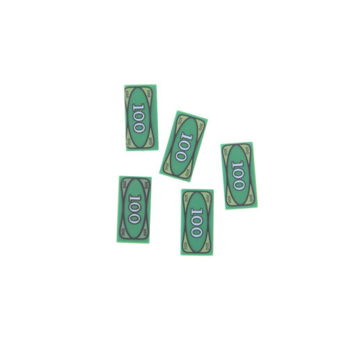 UODLK 5Pcs//lot Lego Tile Decorated 100 Dollar Bill Money Billet Vert Kids Toys