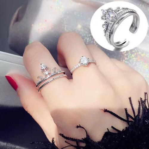 2 en 1 femme diamant princesse reine couronne Anneau Mariage Bridal set cadeau de Noël