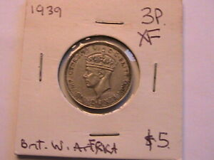 1939 British West Africa 3P XF lustrous original George VI 3 Pence African Coin