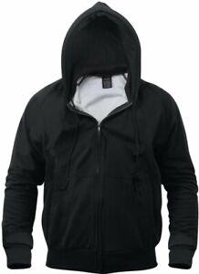 Mens-Black-Solid-Thermal-Lined-Full-Zip-Hoodie-Sweatshirt