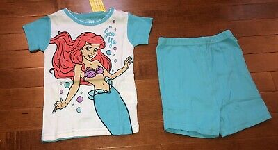 Disney Princess Little Mermaid Ariel Toddler Girl Shirt /& Shorts Pajamas New 5T