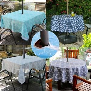 Image Is Loading Outdoor Patio Tablecloth With Umbrella Hole And Zipper