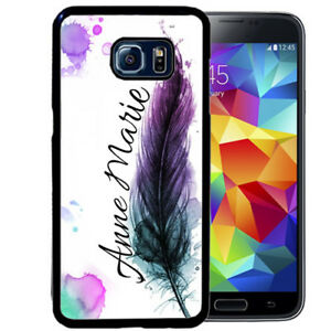 PERSONALIZED-RUBBER-CASE-FOR-SAMSUNG-S9-S8-S7-S6-EDGE-PLUS-FEATHER-WATERCOLOR