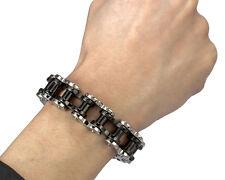 "18mm Silver Black Harley Style Motorcycle Bike Chain Stainless Steel Bracelet 9"""