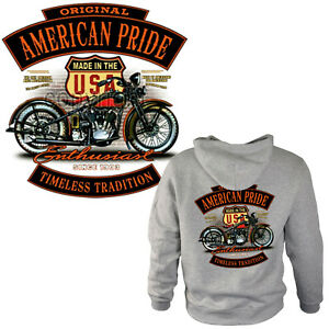 Biker Sweatshirt Kapuzenpullover classic Harley-Motiv Motorrad Hoodie *4260 ash