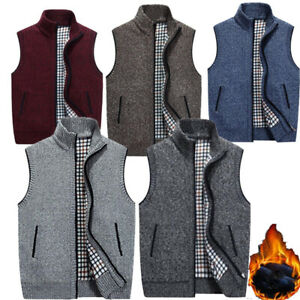 Mens-Winter-Zip-Up-Thick-Fleece-Lined-Knitted-Vest-Cardigan-Jumper-Top-Jacket