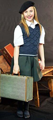 Le ragazze del tempo di guerra anni 1940-giornata di scuola-Lavorato a Maglia Tank Top-Nero Cofano//Basco Set