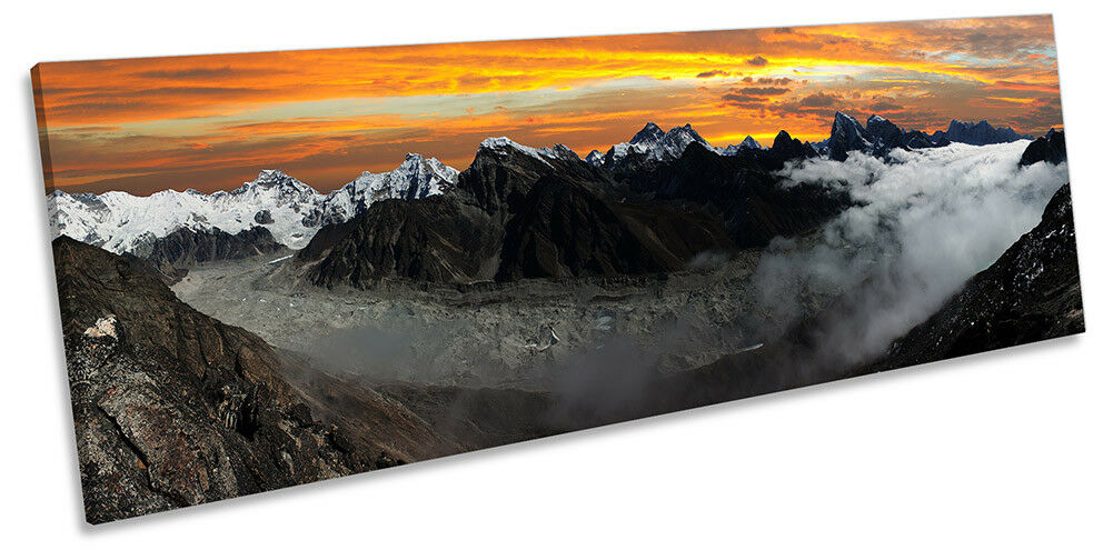 Mount Everest Mountains Sunset Picture PANORAMA CANVAS WALL ART Print