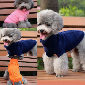 Dog-Knitted-Jumper-Knitwear-Chihuahua-Clothes-Warm-Pet-Puppy-POLO-Neck-Sweater