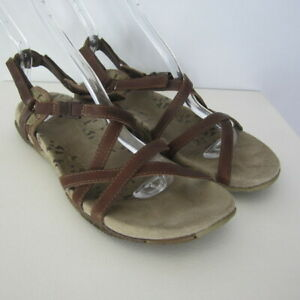 Merrell-San-Remo-Womens-9-M-Brown-Leather-Slip-On-Ankle-Strap-Sport-Sandals