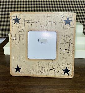 Primitive Crackle Painted Tan /& Black Star Picture Frame 8x10