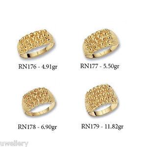 Solid-9-Carat-Gold-Heavy-Light-Mens-Keeper-3-4-5-Row-Gents-Ring-Hallmarked-NEW