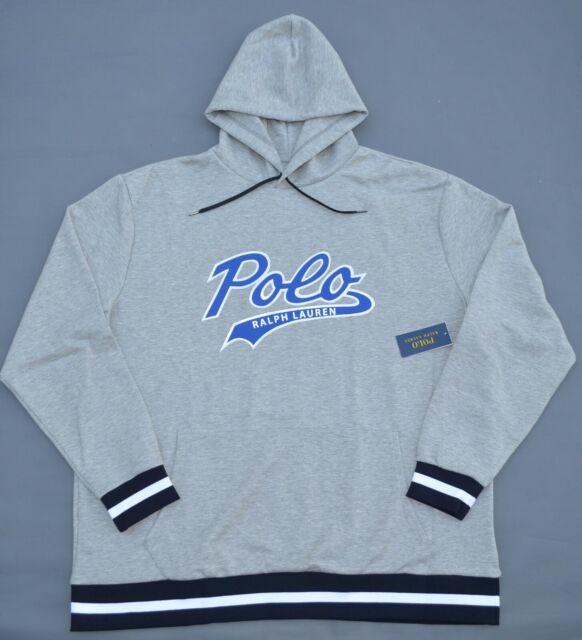 New 2XB 3XB 4XB 5XB 6XB POLO RALPH LAUREN Mens Graphic Hoodie Gray sweatshirt