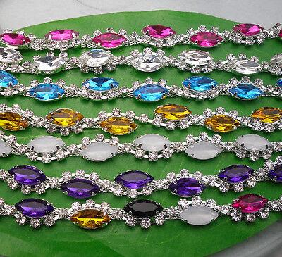 horse eye shap resin crystal rhinestones close silver claw cup trim chain 1yard