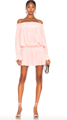 Norma Kamali Off the Shoulder Pink Coral Velvet Pe