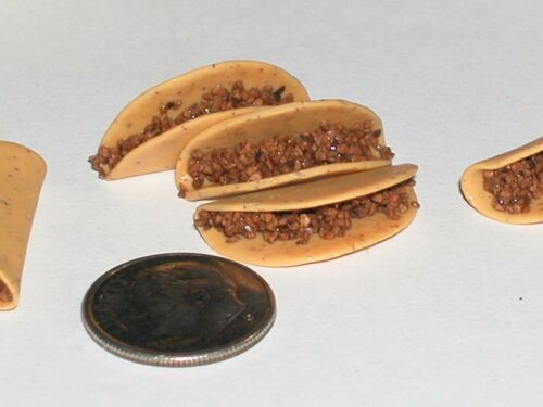 Miniature dollhouse scrapbook Empty Taco Shells Barbie blythe Mexican food 2pc