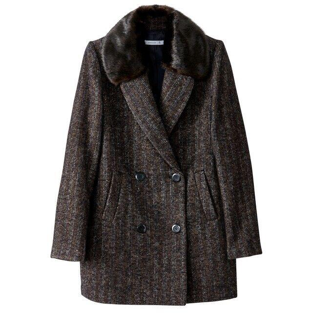 LA REDOUTE LADIES WOOL BLEND FAUX FUR COLLAR COAT SIZE 10 NEW (ref 386)
