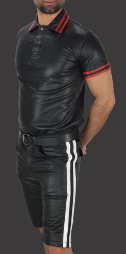 Tank Tops leather shirt Cuir Chemise polo shirt Aw-659 différences Polo Nappa Cuir
