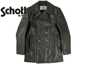 d5d7b78e0b0 SCHOTT NYC Men's 140 Black Double Breasted pea coat Leather Naval ...