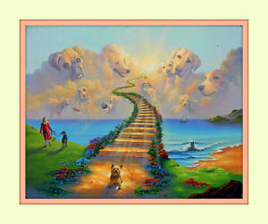 rainbow bridge stairway to heaven 11x14 matd 8x10 print dog memorial