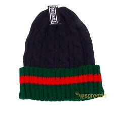 241466ecc21 Beanie Ribbed Cable Knit Red Green Stripe Cuff Ski Snow Warm Winter Unisex  Beany