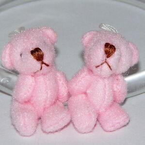 """(2) 1 3/8"""" teddy Bear, 1:12 Size, Pink, Miniature, Tiny Ornament, Dollhouse"""