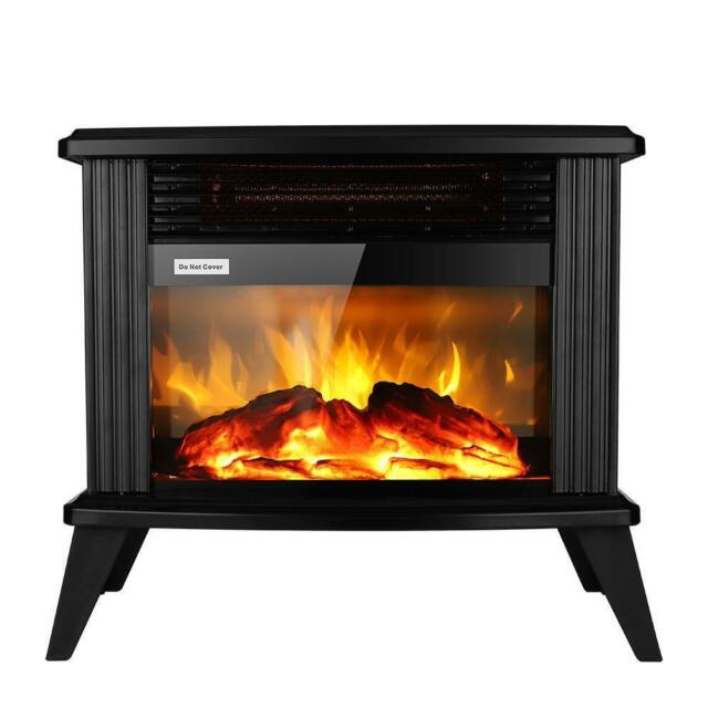 Black Electric Fireplace Heater Infrared Portable Heated Standing Stove For Sale Online Ebay