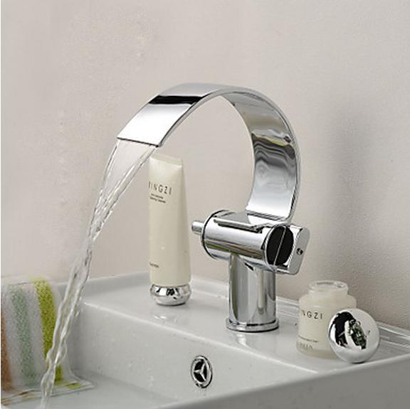 Pont monté Chrome Double Poignées salle de bains bassin robinet d'évier baignoire mélangeur robinets