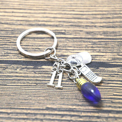 Stranger Things Inspired charm Keychain keyring silver tone eleven