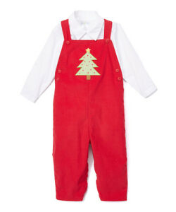 Boys Boutique Christmas Outfit 3 6 12 18 24 Months Nwt Red Overalls White Shirt Ebay