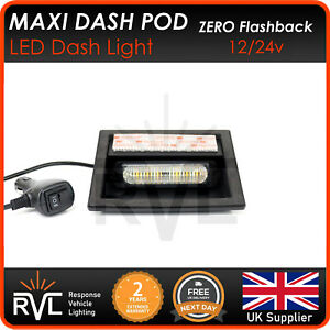 AMBER-RVL-LED-Maxi-Dash-Pod-Flashing-Dash-Light-12-24v-Strobe-Recovery-Truck