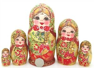 RED-GOLD-Pyrography-Babushka-MATT-Russian-nesting-dolls-HAND-PAINTED-5-MAMAYEVA